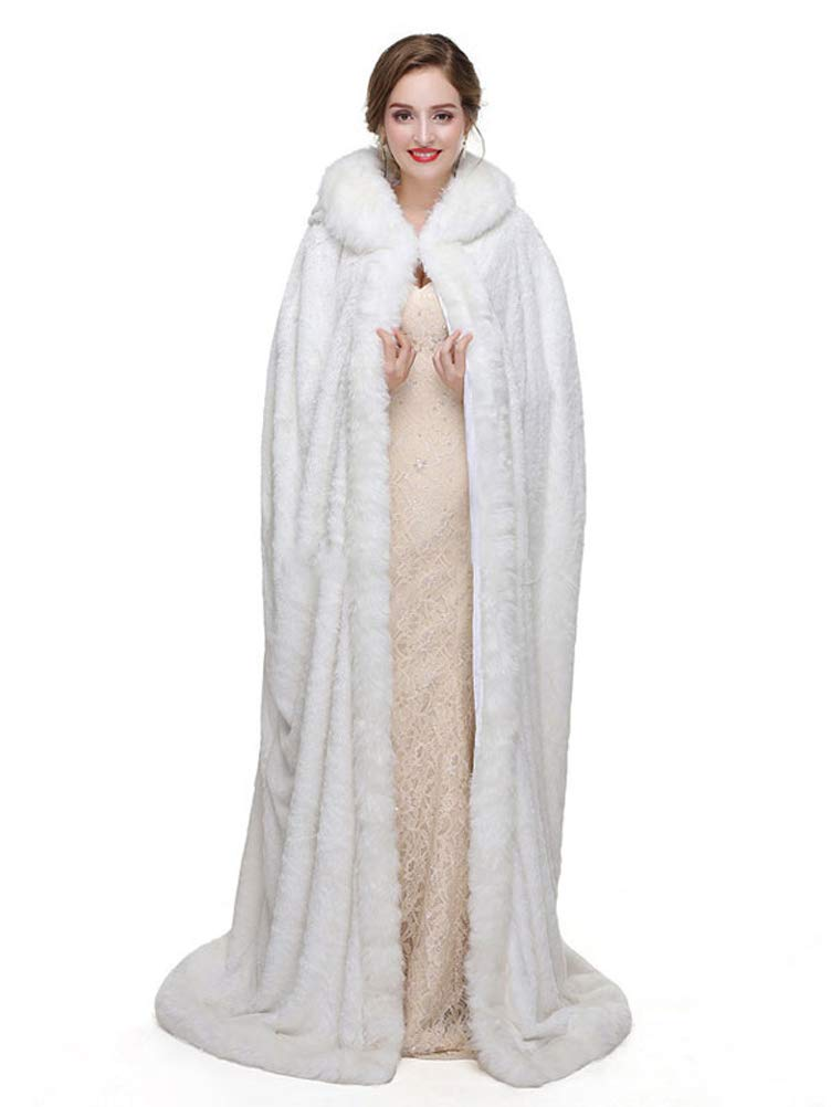 White Fenghuavip White Velvet Wedding Robes Long Cloak Hooded Winter Capes Party Gifts