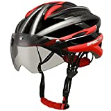 Cheap Base Camp With Detachable Goggles Vents Multi-sport Professional Cycling Bicycle Bike Helmet (red)