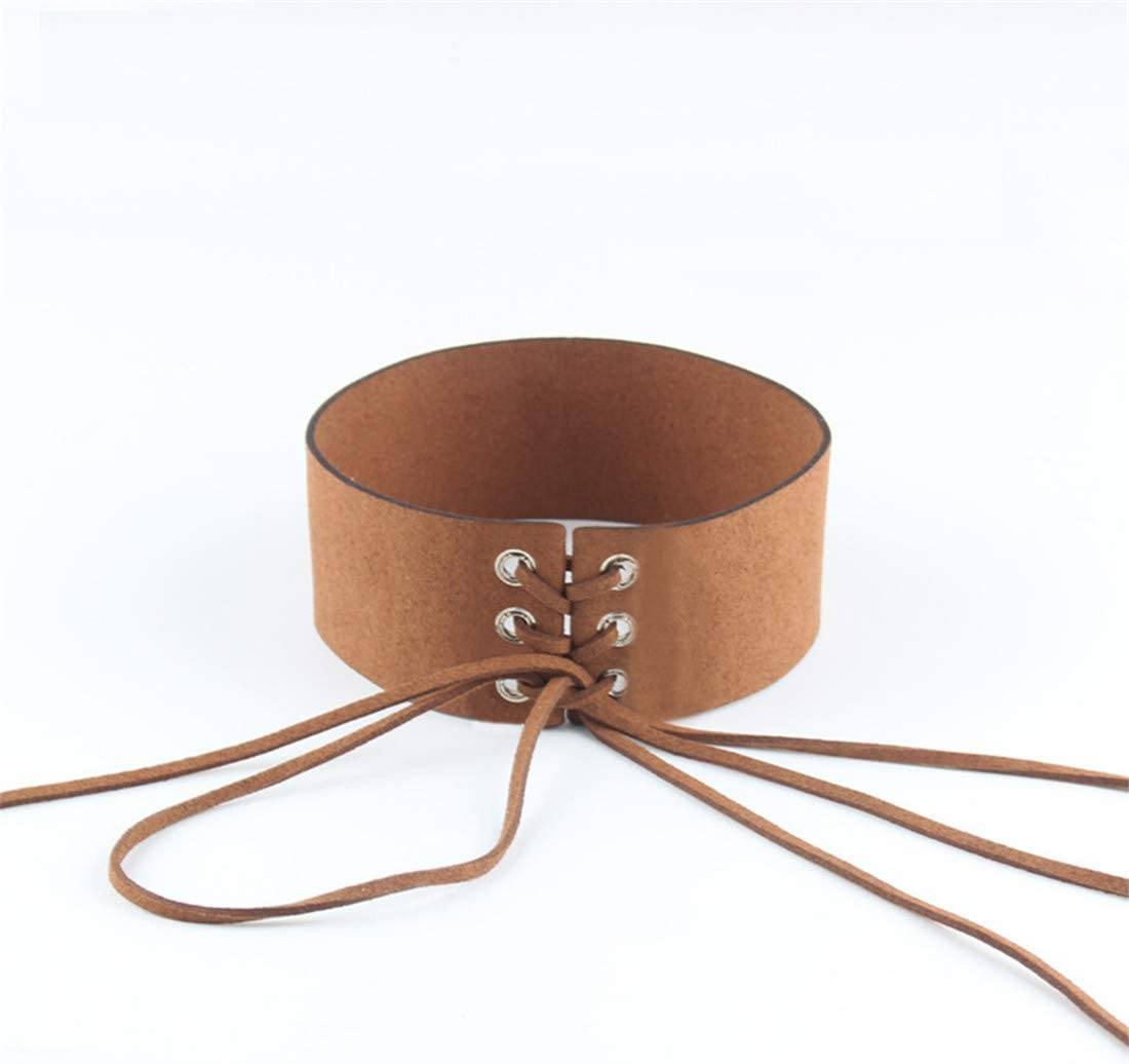 Ivyday Punk Choker Chain Lace-up Necklace Trinkets Chic Charm Trendy Delicate Wide Brim Choker,Brown