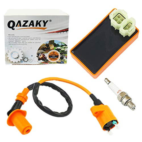 (QAZAKY Performance AC CDI + Ignition Coil + Spark Plug A7TC GY6 50cc - 80cc 90cc 110cc 125cc 150cc 4-stroke Engines Scooter ATV Go Kart Moped Quad Go Kart Pit Dirt Racing Bike 139QMB 152QMI 157QMJ)