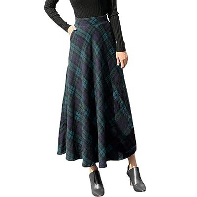 ADESHOP Vestido Largo, para Mujer, Cintura elástica Alta, Falda de Tobillo Larga, a Cuadros, para Invierno: Ropa y accesorios