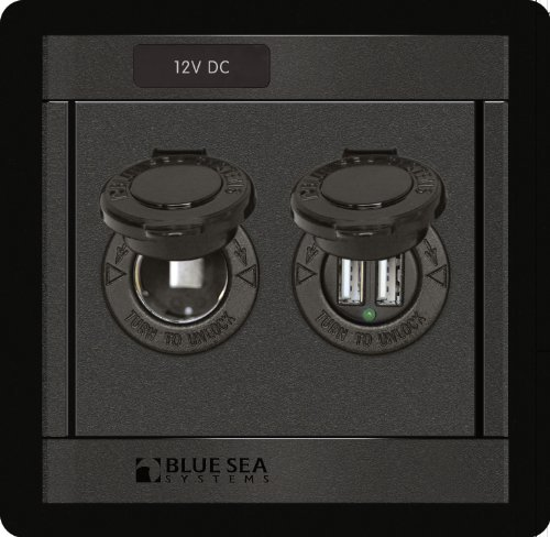 Blue Sea Systems 360 Panel with 12V DC Socket and Dual USB -