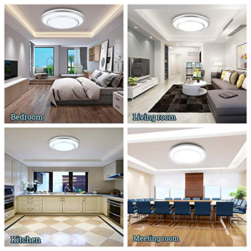W-LITE 48W Dimmable Led Flush Mount Ceiling Light Lighting with Remote-20 Inch Close to Ceiling Lights Fixture for Bedroom/Living Room/Dining Room, 3000K-6000K Color Changeable by W-LITE (Image #2)