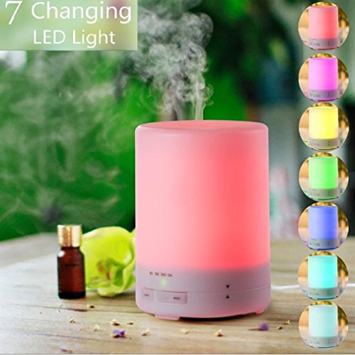 Mgaolo 300ml Aroma Essential Oil Diffuser Ultrasonic Air Humidifier with 8 HOURS Continuous Diffusing and AUTO Shut off 4 Timer Settings 7 Color Changing LED Lights for Office Home SPA Baby Room