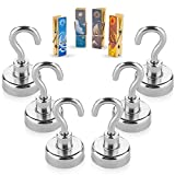 Treats&Smiles Powerful 6 Pack Heavy Duty Neodymium Magnetic Hooks + 4 Magnetic Clips + 3M Non Scratch Stickers - Durable & Strong Hanging Hooks for Indoor/Outdoor Use.
