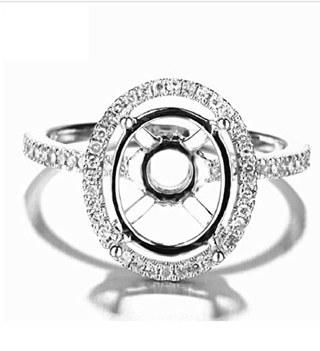 GOWE Solid 14K White Gold 11x9mm Oval Cut Semi Mount Natural Diamonds Engagement Wedding Ring Fine Jewelry Women's Diamond Ring