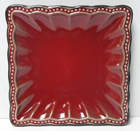 Roscher Hobnail Collection Stoneware Red Scalloped Dinner Ware Set Of 14
