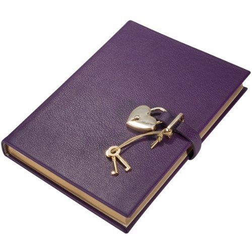 Graphic Image Brights Leather Heart Purple Lock Diary