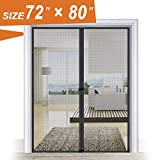 Magnetic Screen Door 72, Wide Mega French Door Mesh 72 X 80 Black Fit Doors Size Up to 70''W X 79''H Max with Full Frame Hook & Loop Large Magnet Double Door Curtain Slab Doors Keep Fly Mosquito Out