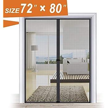 Magnetic Screen Door 72, Wide Mega French Door Mesh 72 X 80 Black Fit Doors