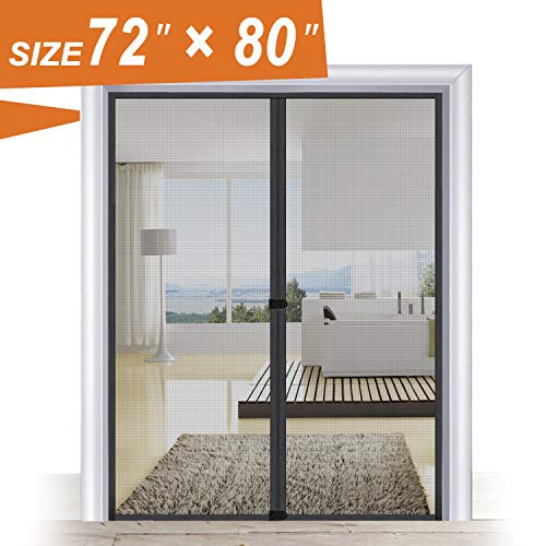 Magnetic Screen Door 72, Wide Mega French Door Mesh 72 X 80 Black Fit Doors Size Up to 70'W X 79'H Max with Full Frame Hook & Loop Large Magnet Double Door Curtain Slab Doors Keep Fly Mosquito Out