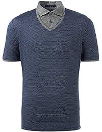 Blue 100% Cotton Geometric Print Short Sleeve Polo