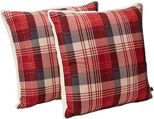 Woolrich Tasha Softspun to Berber Throw Pillow, Lodge Cabin Print Cozy Square Decorative Pillow, 18X18, Set of 2, Red