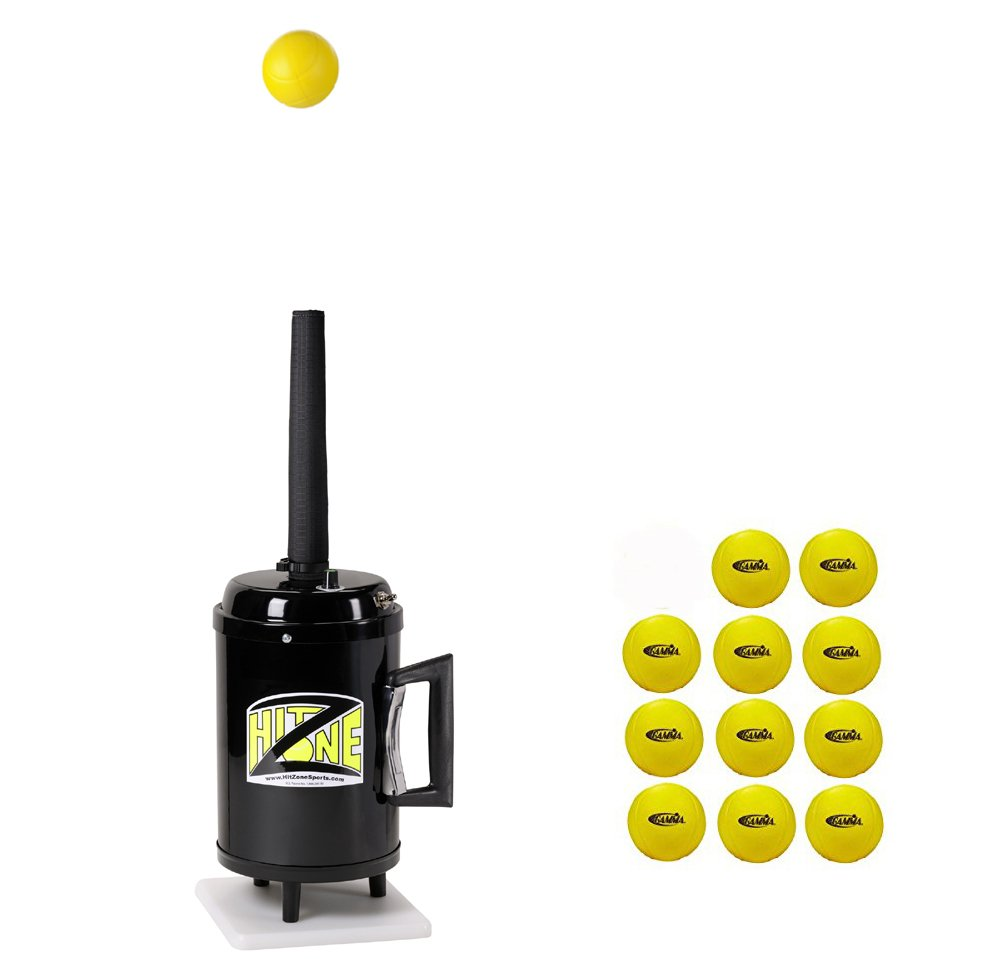 Hit Zone Deluxe Tennis Air Tee Training Aid With Variable Speed Control - Ball Floats in Mid Air - Model T3-HZBV - Includes A Dozen Gamma Foam Balls - Bonus 14.5'' Sleeve - MADE IN THE USA!