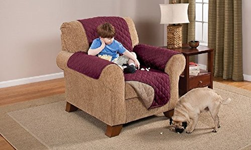 Deluxe Reversible Chair Furniture Protector, Burgundy / Taupe