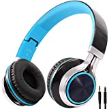 BienSound HW50 Stereo Folding Headsets Strong Low Bass Headphones with Microphone for iPhone, All Android Smartphones, PC, Laptop, Mp3/mp4, Tablet Macbook Earphones (black/blue)