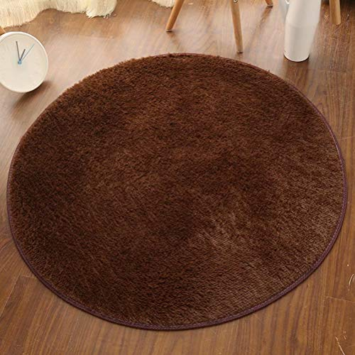 Partypeople Round Area Rug 4' Brown Nylon Polyester Shaggy Fluffy Anti-Slip Round Carpet for Family Living Area Dining Kitchen Bedroom Bathroom Hallway ()