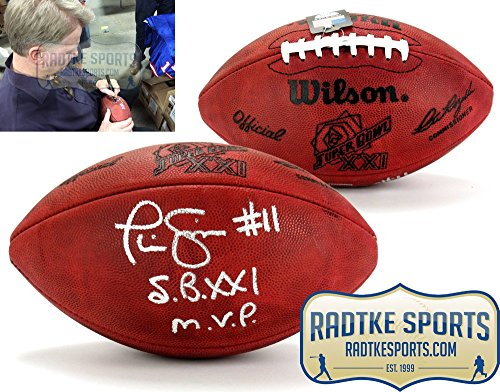Phil Simms Autographed/Signed Wilson Authentic Super Bowl 21 NFL Football with