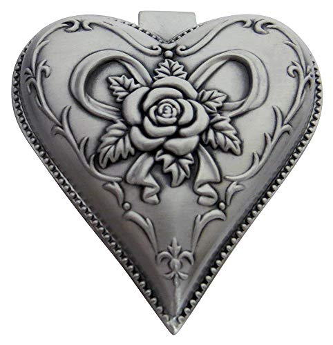 (Happy Homewares Light Pewter Plated Metal Heart Shaped Jewelry Trinket Box with Rose Decor Perfect for Storing Small Keepsakes and Rings, Necklaces and Earrings)