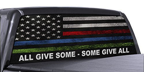 (FGD Brand Truck Rear Window Wrap Police Fire & Military American Flag Perforated Vinyl Decal)