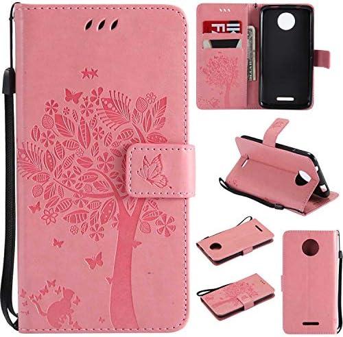 OMATENTI Moto C ケース 手帳型ケース ウォレット型 カード収納 ストラップ付き 高級感PUレザー 押し花木柄 落下防止 財布型 カバー Moto C 用 Case Cover, ピンク