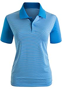 CLOVERY Women's Polo Shirts Stripe Pattorn Short Sleeve Shirt