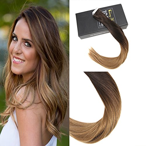 Sunny Ombre Hair Extensions Human Hair Tape In Remy Brazilian Human Hair Straight Two Tone Color Brown to Strawberry Blonde Skin Weft Hair Extensions 24inch 20PC - Two Skin Tone Color
