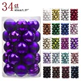 "KI Store 34ct Christmas Ball Ornaments Shatterproof Christmas Decorations Tree Balls Small for Holiday Wedding Party Decoration, Tree Ornaments Hooks Included 1.57"" (40mm Purple)"