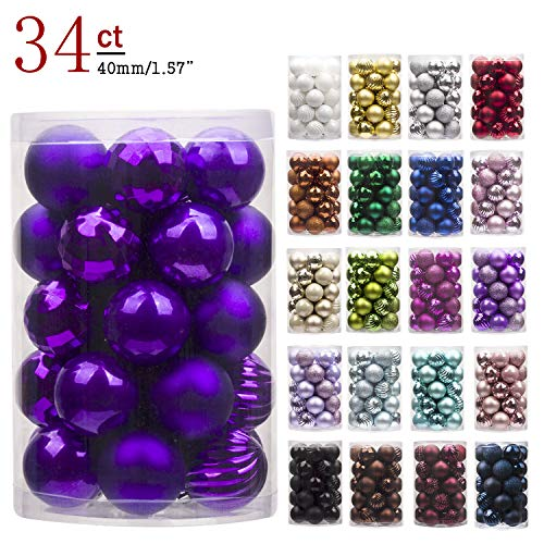 """KI Store 34ct Christmas Ball Ornaments Shatterproof Christmas Decorations Tree Balls Small for Holiday Wedding Party Decoration, Tree Ornaments Hooks Included 1.57"""" (40mm Purple)"""