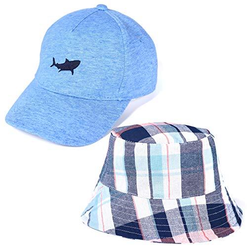 accsa Toddler Kid Boy Shark Baseball Cap and Bucket Brim Hat Blue Plaid Age 2-5Y