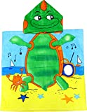 Turtle 100% Cotton Poncho Style Hooded Bath & Beach Towel with Colorful Double Sized Design