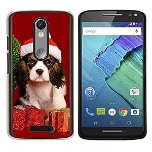 Navidad del perro de perrito- Metal de aluminio y de plástico duro Caja del teléfono - Negro - Motorola Droid Turbo 2 / Moto X Force