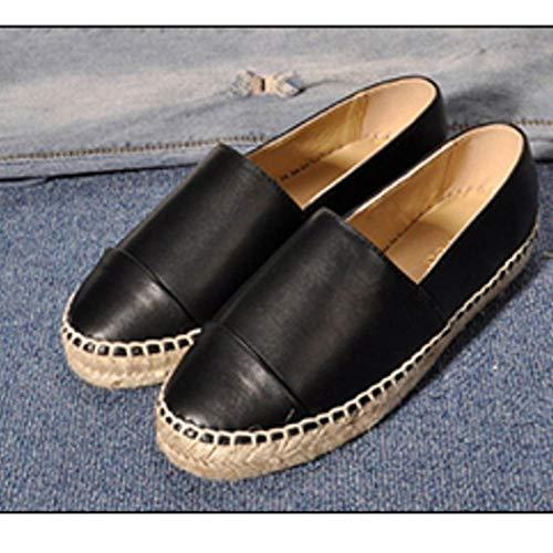 JULY Leather Fashion T Shoes Genuine Black Womens's Casual Comfortable Loafers Flats Espadrilles Seasons q8dZdgB