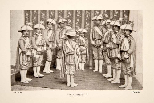 [1909 Print Los Seises Choirboys Dance Song Easter Seville Spain Sevilla Costume - Original Halftone Print] (Group Song Costume)