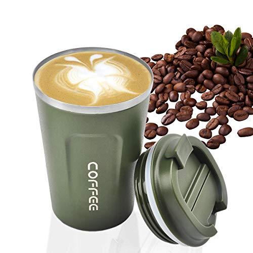 MOMSIV - Taza de cafe reutilizable al vacio a prueba de fugas de doble pared, aislamiento de acero inoxidable ecologico, taza de viaje para cafe, te y bebidas frias (verde))