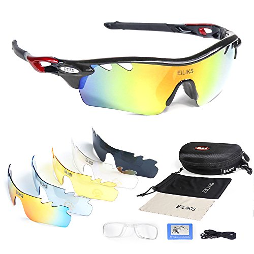 Polarized sunglasses, mens and womens outdoor sports fashion glasses with 5 sets of interchangeable lenses can ride cycling driving running ski fishing golf baseball climbing TR002 glasses