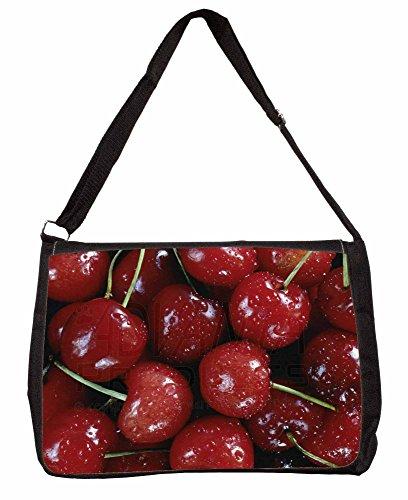 Red Cherries Print Large 16 Black School Laptop Shoulder Bag QwzurIOz