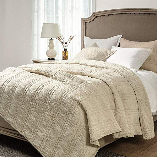 Elegant Life Zen Collection 2 Layers Cotton Crinkle Gauze Stripe Embroidery Bedding Quilt Oversized King 106'' x 92'', ()