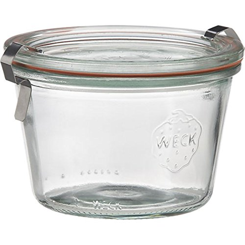 Weck 165 ml Jar with Lid, 80 mm, Complete and Seal Clips, Box of 12, Glass, Transparent