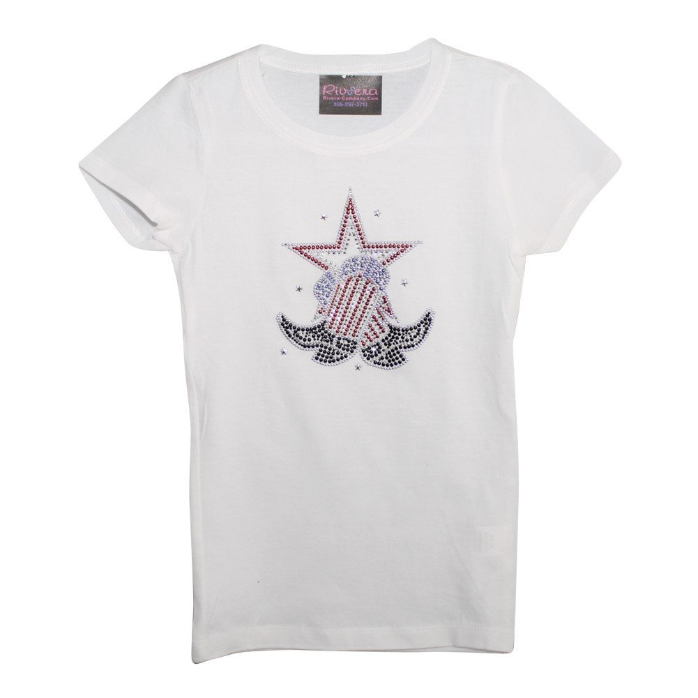 Big Girls White Boots with Star Print Short Sleeved Cotton T-Shirt YL