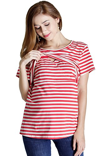 (Best Women's Maternity Nursing Tops Short Sleeve Doubled Layered Breastfeeding Clothes)