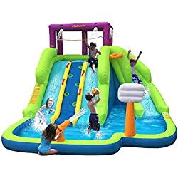 Kahuna Triple Blast Kids Outdoor Inflatable Splash Pool Backyard Water Slide