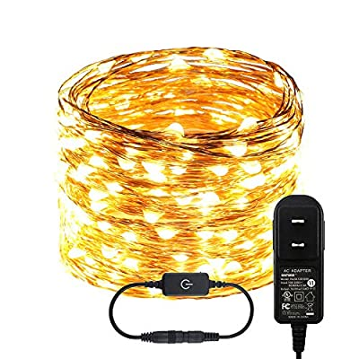 RUICHEN Dimmable LED String Lights, Plug in Touch Control 66FT 200 LEDs Copper Wire Decorative Starry Fairy Lights with UL Adapter for Christmas Bedroom Party Wedding (Warm White) : Garden & Outdoor