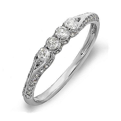 040-Carat-ctw-18K-Gold-Round-Diamond-Ladies-Anniversary-Wedding-Band-Stackable-Ring