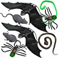 Joyin Toy 8 Pieces Scary Realistic Halloween Decorations Including 2 Hanging Bats, 2 Rats, 2 Large Spiders and 2 Snakes.