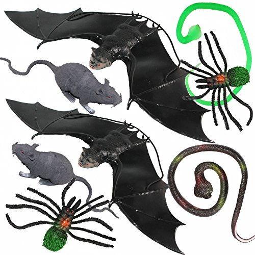 Joyin Toy 8 Pieces Scary Realistic Halloween Decorations Including 2 Hanging Bats, 2 Rats, 2 Large Spiders and 2 Snakes. (Giant Snake Prop)