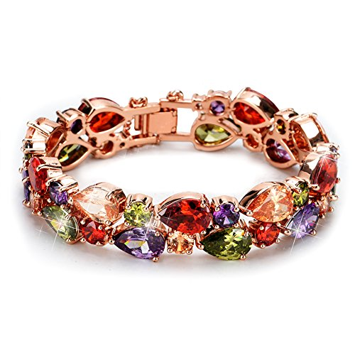 "CS Rose Gold Plated Bracelet with multi-hued cubic zircon, ""Mona Lisa"" Fashion Jewelry Bracelet for Women"