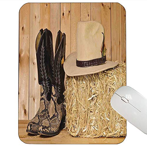 Western Decor Customized Mouse pad Snake Skin Cowboy Boots Timber Planks in Barn with Hay Old West Austin Texas Gaming Mouse pad Cream Brown 9