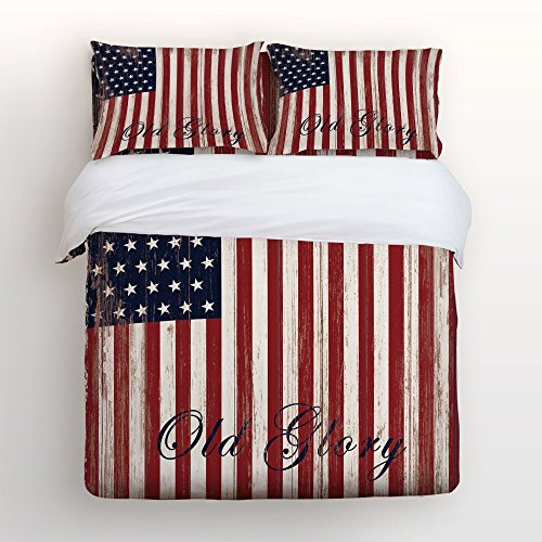 - Ultra Soft 4 Pcs Bedding Sets Cotton Modern Luxury Bedding American Flag Pattern Quote Old Glory Printed Home Comforter Bedspread Duvet Cover Set Full Size