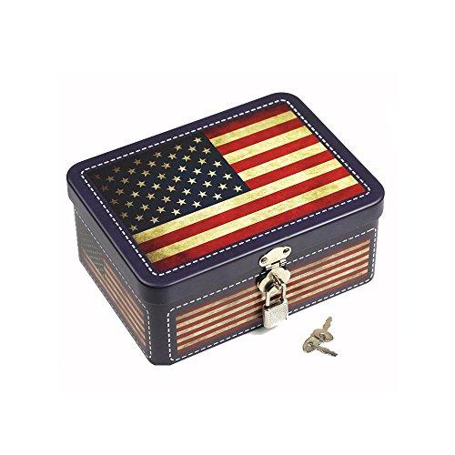 Retro Tinplate Box with Lock Insurance Storage Box Desktop Storage Organizer Cosmetics Box Gift for Children, Home Decoration Box (American Flag)